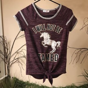 Unicorn I Will Not Be Tamed ringer tshirt juniors